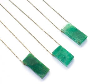Green Stone Necklace, Agate Jewelry, Green Agate Necklace, Emerald Green Necklace, Green Rectangle Stone Necklace, Gemstone Jewelry