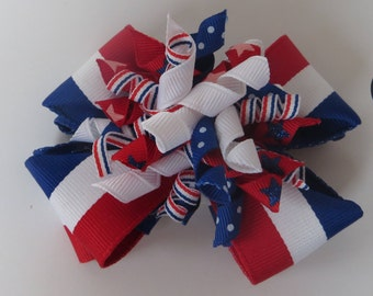 4th of July Korker Bow, 4th of July Hair Bow, Patriotic Hairbow, Red, White and Blue Hairbow, Hair bow,