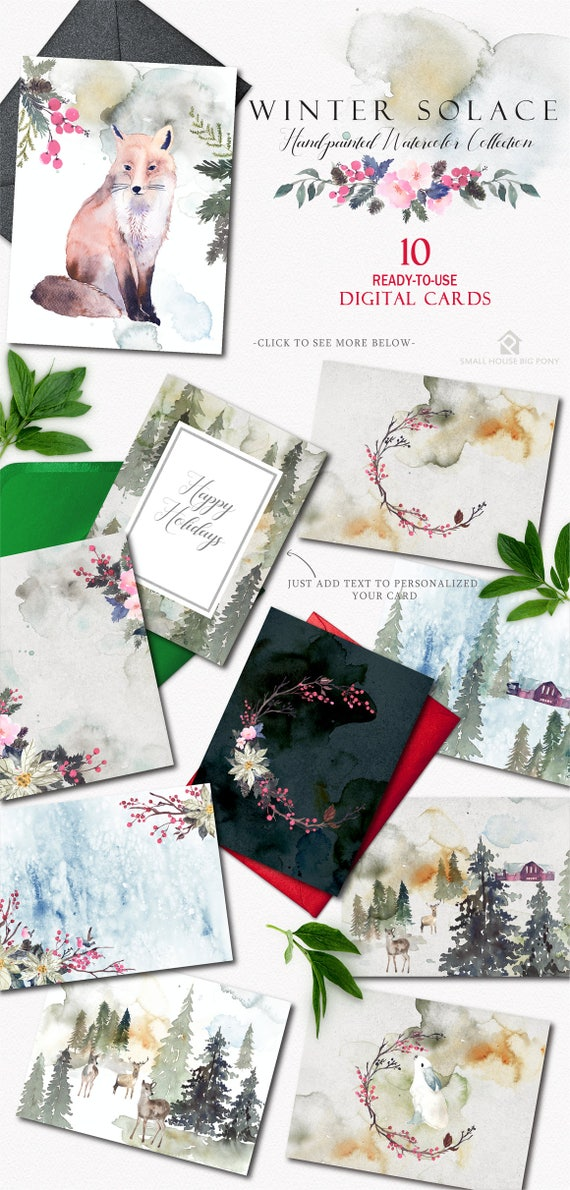 Digital Holiday Cards - Instant download hand-painted watercolor Vintage style holiday cards, winter themed celebration