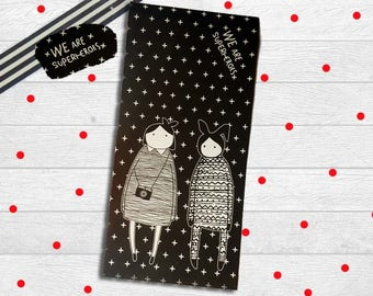 Black and White Envelopes,  Greetings card, Summer Time