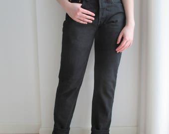 LEVI'S 510 02 High Waisted Jeans, Black High Waist LEVI STRAUSS Jeans 80s, women High Waist Straight Leg Black Jeans, Size 29''/32''