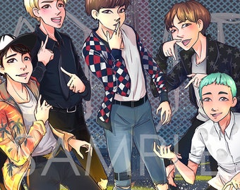 BTS Bangtan Boys FIRE | RapMonster, Jin, Jimin, Jungkook, V, Suga, JHope | Prints