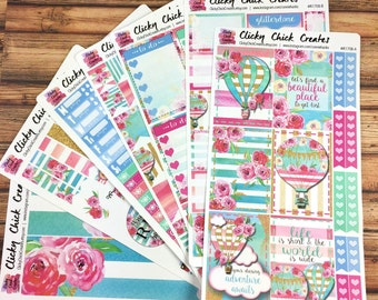 FRENCH RIVIERA KIT! Planner stickers, hot air balloons, pink, turquoise, gold, watercolor, flowers, Inkwell, eclp, Happy Planner {#K1708}