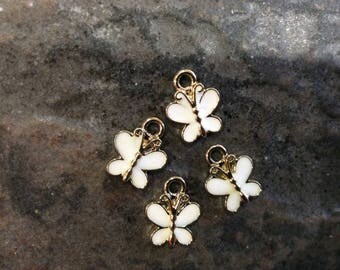 Butterfly charms with white enamel detail and light gold finish Package of 4 Spring Charms Easter Charms Earring Findings