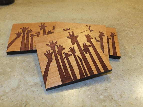 Wooden Giraffe Coasters Engraved on Maple or Cherry Wood. Housewarming Gift-Home Decor-Home Bar Decor-Birthday Gift-Wedding Gift
