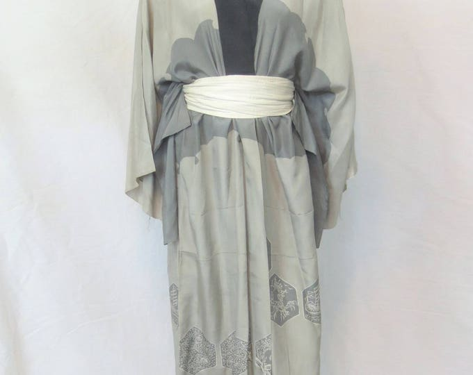 30s the STELLA mint green grey ivory printed washed silk robe vintage authentic hand made japanese kimono