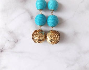 Turquoise and Gold Sequin Drop Earrings