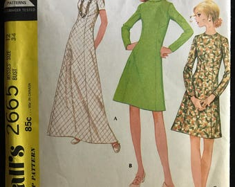 McCalls 2665 - 1970s A Line Dress with Jewel Neck or Roll Collar - Size 12 Bust 34