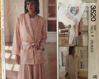 McCalls 3520 - 1980s Womans Day Jacket with Shawl Collar, and Straight or Yoked Skirt with Pleats - Size 16 18 20