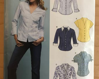 New Look 6407 - Easy to Sew Button Front Top with Contrast Collar and Cuff Options - Size 10 12 14 16 18 20 22