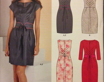 New Look 6067 Slash Front or Keyhole Dress with Shaped Midriff and Tie Belt - Size 6 8 10 12 14 16