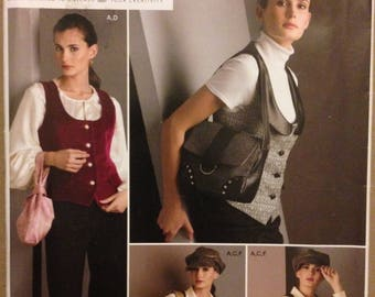 Simplicity 2862 Sew Stylish Scoop Neck Button Front Vest and Tote, Shoulder Bag or Wristlet - Size 6 8 10 12 14