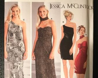 Simplicity 5728 - Jessica McClintock Body Conscious Evening Dress in Mini or Maxi Length - Size 3 4 5 6 7 8 9 10
