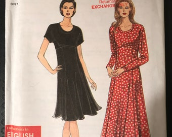 Simplicity 7290 - Easy to Sew Dress with Raised Waist and Flared Skirt in Knee or Midi Length - Size 6 8 10 12 14 16