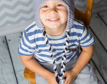 Crocheted gray koala bear hat, knitted funny Australia animal beanie for toddlers and kids 1 to 4 years old