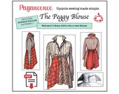 PDF Paganoonoo Peggy Blouse Pattern with Double Collar Sewing Pattern. Transform dress shirts into woman's blouse! Sewing Pattern for Women