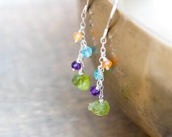 Raw Crystal Earrings - Raw Peridot Jewelry - Raw Peridot Earrings - August Birthstone - Raw Green Peridot - Peridot Earrings - Birthstone