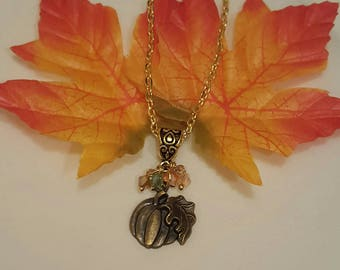 Pumpkin Necklace, Thanksgiving Necklace, Autumn Necklace, Free Shipping
