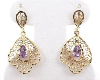 14k Yellow Gold Amethyst Earrings - Dangling Filigree Earrings