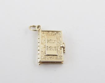 14k Yellow Gold Holy Bible Vintage Charm Pendant - Yellow Gold Bible with Prayer Inside