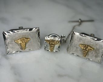 Matching Set of Sterling Silver and 10K Yellow Gold Cufflinks and Tie Tack with Caduceus