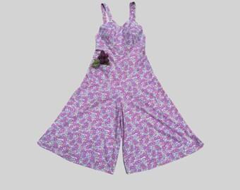 Rare 1930s Beach pajamas / Overalls / 30s Culottes / Beach Pyjamas / Jumpsuit / Vintage Playsuit / Romper Jumper / palazzo pants