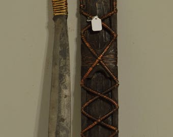 Ifugao Phillipines Knife Scabbard Handmade  Vintage Hand Forged Blade Ifugao Knife