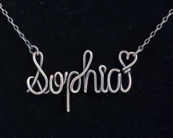 Name necklace, sterling silver, 14k gold filled, rose gold filled, wire wrap name necklace, Personalized Name Necklace, Custom Name Necklace