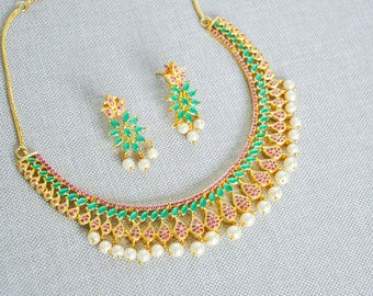 Gold plated cubic zirconia Indian necklace set with ruby and emerald green stones | Indian bridal Jewelry set perfect for Indian weddings