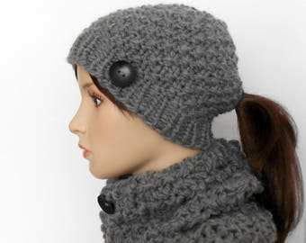 Ponytail Hat and Cowl Set, Chunky Knit Alpaca Gray Pony Tail Beanie Knitted Scarf Hand Made Alaska Gift for Her Fall Winter