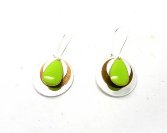 Stud Earrings silver drop and sequins glazed lime
