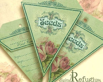 Seed Packets triangle flowery reseda / Digital Collage Sheet / Instant Download/flowers/ printables
