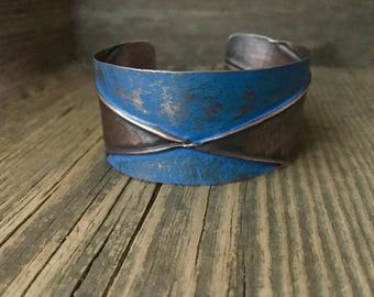 Handmade blue cuff, folded layers, textured copper bracelet