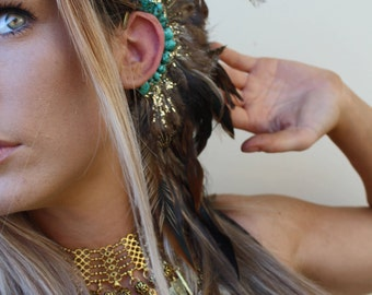 Turquoise stone feather ear cuff