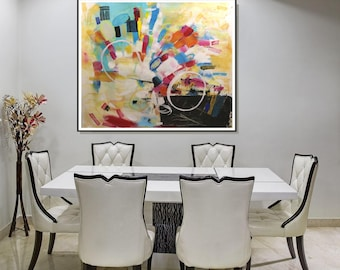 Original Large Abstract Painting/ Large Wall Art Mixed Media Acrylic Painting/Drawing/ Abstract Art Square Painting/ Modern Acrylic On Paper
