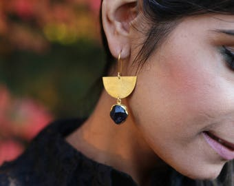 AMETHYST RAW STONE Earrings / Gold Plated / Handmade / Gifts for her