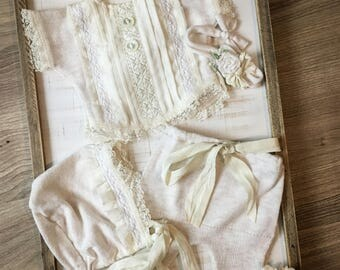 Newborn romper set-newborn romper-romper set-newborn photography-photo prop-newborn photo prop-baby girl outfit-newborn girl outfit-neutral