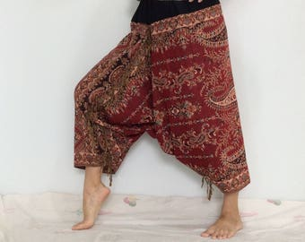Touch Soft Silk..Red Soft Silk Harem Pants with Leaf patterned (HR-592)