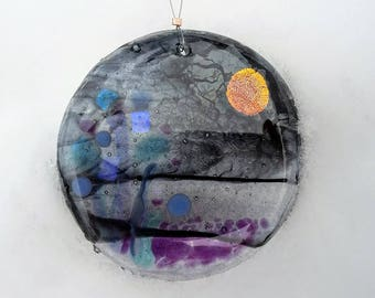 Fused Glass Sun Catcher Ornament Night Landscape Moon Scene