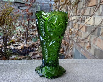 Green Pressed Glass Vase