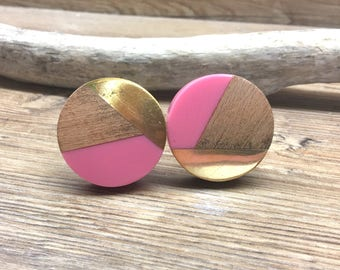 SET OF 2 - Tricolor Pink, Distressed Brass, and Natural Wood Knob - Round Wood and Pink Resin Wooden Knob - Modern Abstract Drawer Pull