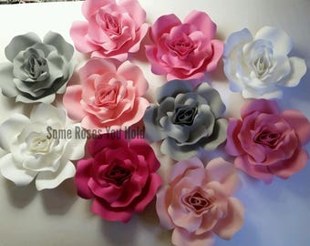 Paper Flowers Pink Gray and White, 10pc Paper Roses Set, Paper Flowers Wall Decor, Baby Shower Backdrop, Party, Wedding, Nursery Wall Art