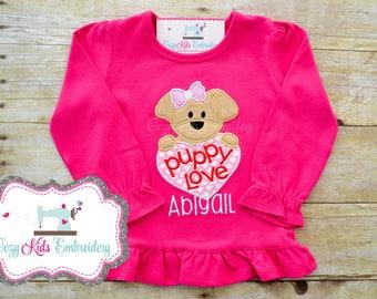 Valentine's Day Shirt, Girl's Valentine's Day shirt, Puppy Love shirt, Valentine Embroidery Applique