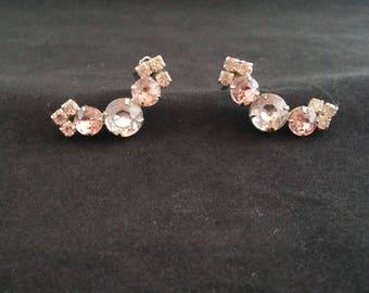 Vintage Pink Rhinestone Earrings, 1960, Clip, Shiny!