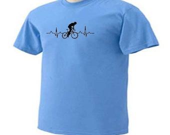 Cycling Heartbeat Pulse Beating Outdoor Cyclist Bike Racing Riding Sport T-Shirt
