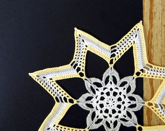 Colorful Star Doily - Crochet Doily - Yellow Star Flower Doily - Grey Gray White Yellow - Crochet Decor - Multicolor Star Floral Doily