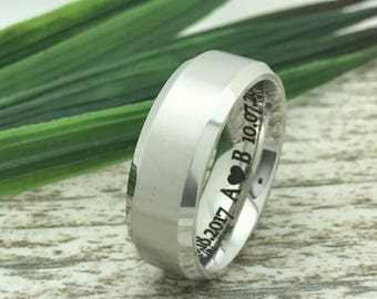 8mm Titanium Ring, Engraved Date Ring, Couples Names Ring, Roman Numeral Ring, Coordinates Ring, Couple Promise Ring, Wife Name Ring