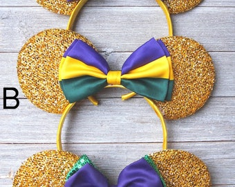 Minnie Mouse Ears - Shimmer Gold Bow Mardi Gras Party Headband Wedding Mickey Princess Bridesmaid Birthday