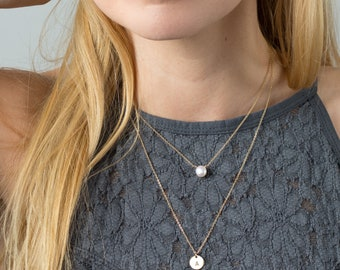 Dainty Layered Necklace Set - Pearl necklace & Initial Disk Necklace - Set of 2 Short and Long Necklaces