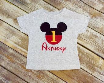 Any Age Light Gray Mickey Mouse Birthday Shirt, Disney Grey Mickey birthday tee shirt, Mickey First Birthday T shirt, Mickey Birthday shirt